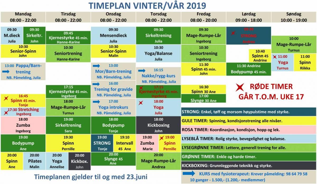 Timeplan for gruppetrening ved Basic Treningssenter våren 2019